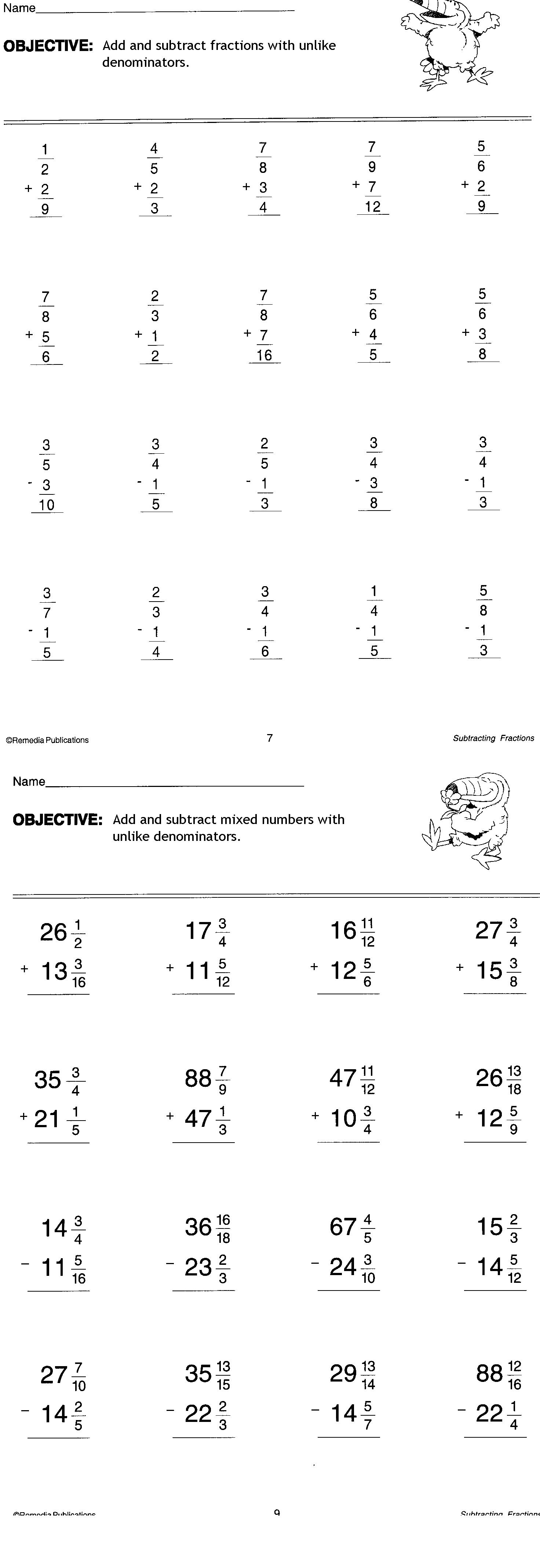 Printables 7th Grade Math Fractions Worksheets 2nd hour math mr tats zone 2 sided worksheet on adding and subtracting unlike fractions